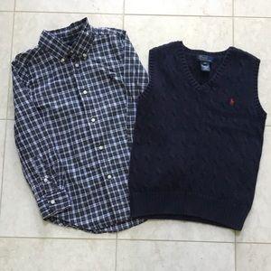 RALPH LAUREN navy/green plaid shirt & vest set 6